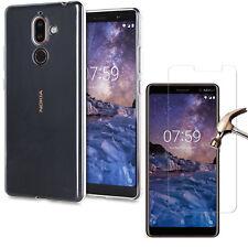 Per Nokia 2 3 5 6 2018 7 PLUS 8-Cancella Indietro TPU Gel Custodia Cover + Vetro Temperato