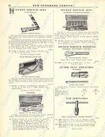 1920s Antique Hardware Ad Socket & Spark Plug Wrenches-Walden Worcester Wrenches