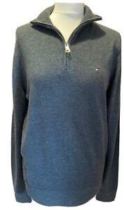 Men's Tommy Hilfiger Jumper Size M 38 1/4 Zip Charcoal Grey Sweater BNWT