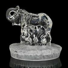 Vintage Italian Crystal Glass Elephant & Calf Sculpture by Oneida Capri