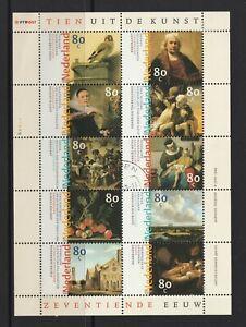 NETHERLANDS - 1999 17th Century DUTCH ART Minisheet ,block of 10 x 80c VF USED