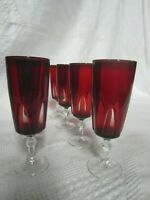 8 Vintage Bohemian Ruby Red Crystal Cut to Clear Wine/Water Stemware