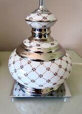 "Vtg MANGANI Italy-""Small Geometric LAMP BASEs- Red/Blue White Porcelain+ Silver"
