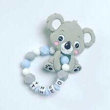 Beißring Greifring Greifling mit Namen Wunschname Silikon Koala grau hellblau