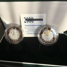 UK COINS 1999 - 2000 SILVER COLLECTION CASED SET £5 2000 COIN WITH 22CT GOLD