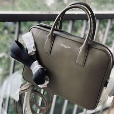 NWT Michael Kors Mens Warren Compact Briefcase Laptop Shoulder Bag Leather Olive