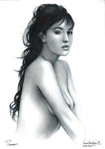 original drawing A4 195NJ art samovar oil dry brush female nude woman naked