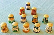 Vintage Set Of 12 Chinese Zodiac Cloisonne Thimbles Brass Top