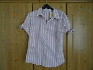 Women's Marks and Spencer's Short Sleeve Fuchsia Striped Shirt - Size 16 BNWT