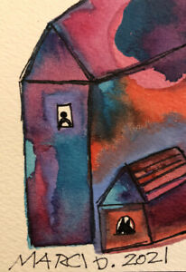 OOAK ACEO 🏡 ABSTRACT Watercolor BY BIPOLAR ARTIST MARCI DEL MASTRO MODERN