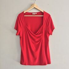Taking Shape Women's Red Top Plus Size S 16 Short Sleeve Stretchy Fitted