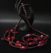 Joya Collar Cadena de Madera Rojo 3-lagig 88cm #119