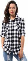 OCHENTA Women's Long Sleeve Button Down Plaid Flannel Shirt, Black, Size Large v
