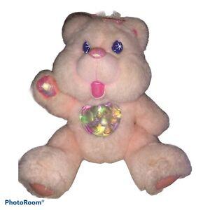 Working Vintage 95 Twinkle Bears Pink Light Up Bear Plush Iridescent Fantasy Ltd