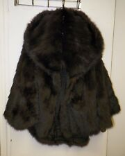 GORGEOUS VINTAGE SABLE FUR CAPE EXTRA LARGE COLLAR LONG HAIR VERY SOFT HIGH END