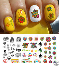 Hippie 70's Assortment Nail Art Waterslide Decals - Groovy Man! Salon Quality!