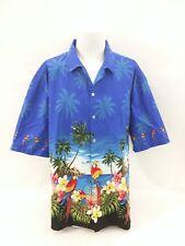 PACIFIC LEGEND Hawaiian Beach Parrot Tropical Scene Men's Camp Shirt Size 3XL
