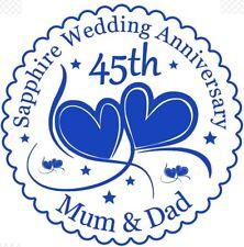 Zafiro 45th aniversario de bodas Cake Topper-Personalizado