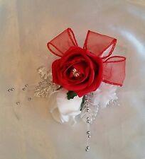 Spilla Da Sposa Su Bouquet Rosa Rossa Bianco Argento Rosebud spray a sfera multifunzione