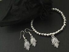 Hamsa Hand Of Fatima Beaded Stretch Bracelet And Earrings Bijoux Jewellery Set