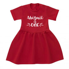 Personalised First 1st Birthday Baby Toddler Dress, Girls' Red Dress