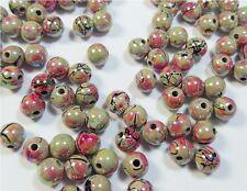 100 Gemusterte Glitzerperlen Irisierend Perlen Acrylperlen Rund 8mm ROSA  D126