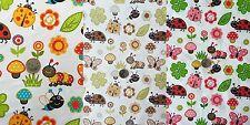 Baumwolle Stoff Blumen Schmetterling Marienkäfer Pilz Raupe Deko Stoffe 3 Farben