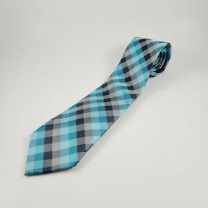 """David Taylor Collection Mens Plaid Black & Teal Polyester Tie 58"""" x 3"""" NWOT"""