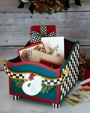 Mackenzie Childs Courtly Check wood sleigh swan Christmas card box centerpiece