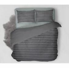 Home deals Bedsheet Stripes With Pillow Case (Grey/Queen)