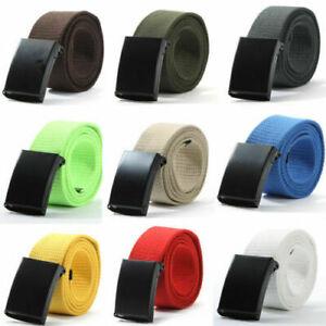 Mens Womens Unisex Cotton Canvas Fabric Webbing Black Buckle Belt Army