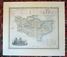 1829 Greenwood Kent Genuine Antique Map Large 75x64cms Canterbury Cathedral RARE