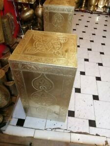 Moroccan cubic brick wooden and brass Vintage chest table decoration lamp stand