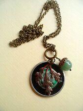 Vintage Optical Lens, Aventurine Acorn & Oak Leaf Brass Steampunk Necklace