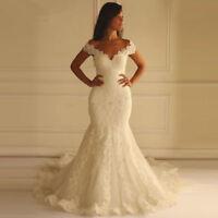 White/Ivory Lace Train Wedding Dresses Mermaid Bridal Gowns Off-Shoulder V Neck