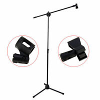 Microphone Stand Heavy Duty With Mic Clip Black Adjustable Holder Boom Mic