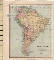 C1880 Viktorianisch Karte ~ South Amerika ~ Brasilien Peru Chile