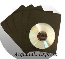 <<<100 BLACK Color CD DVD Paper Sleeves w/Window >>>