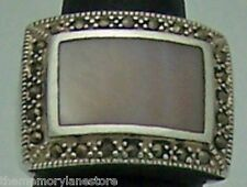 Marcasite Sterling Silver Ring, Sz 7 Beautiful Large Estate Mother Of Pearl &