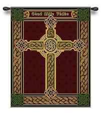 IRISH ORNATE CELTIC CROSS BURGUNDY ART TAPESTRY WALL HANGING 26x31