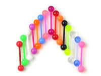 10pcs Bulk Colorful Flexible Barbell Stud Tongue Ring Ball Bars Body Piercing!!!