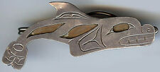 GREAT VINTAGE HAIDA INDIAN SILVER COPPER CUT OUT WHALE TIE BAR CLIP