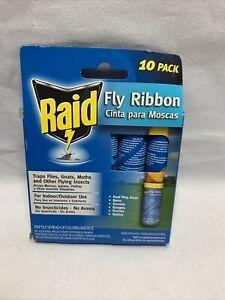RAID Fly Ribbon Flying Insect Glue Strip Bug Trap 10 Ribbons Fly Killer NEW V4