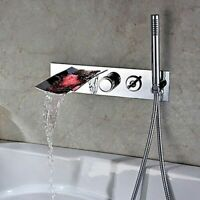 Bath Wall Mounted LED Waterfall Tub Filler Faucet&Handshower Set Shower Chrome