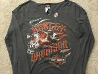 Harley Davidson Skins n Grins Open Neck Long Sleeve Gray Shirt NWT Women's XL