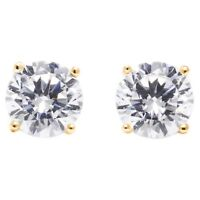 1.0 Ct Round Earrings Studs Solid 14K Yellow Gold Brilliant Basket Screw Back