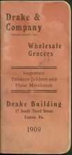 1909 Drake and company wholesale grocers calendar and daily reminder book