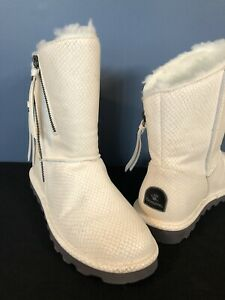 Bearpaw Mimi White Faux Snake Sheepskin Fur Lined Winter Boots Women's Size 8