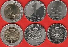 Georgia set of 3 coins: 50 tetri - 2 lari 2006 UNC