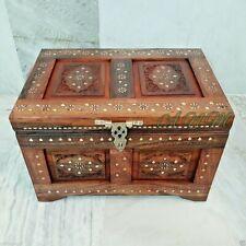 Antique Wooden Box Treasure Pirate Chest Collectible Home Decorative